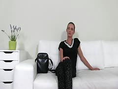 Tanned brunette giving an amazing handjob for Fake Agent