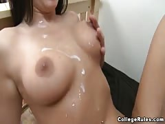 Cumshots on the stunning bodies of hot college babes