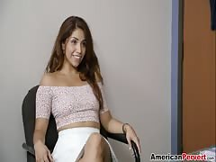 Hot-looking babe fucks with new pervert boss after interview