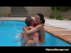crazy underwather fun behind a slippery nuru massage